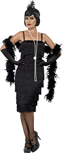 Flapper Dress Costume Uk (Smiffy's Women's Flapper Costume, Long Dress, Headband and Gloves, 20's Razzle Dazzle, Serious Fun, Size 14-16, 45502)