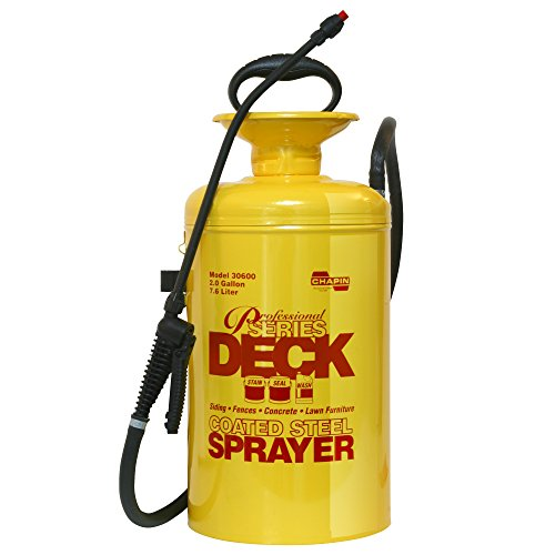 Deck Sealer - Chapin 30600 2-Gallon Professional Tri-Poxy Steel Deck Sprayer For Deck Cleaners and Transparent Stains and Sealers, 2-Gallon (1 Sprayer/Package)