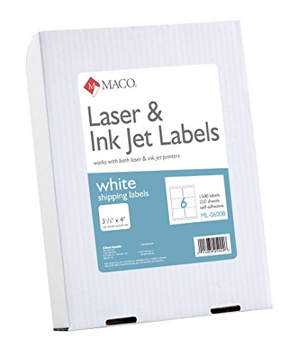 Maco laser ink jet white shipping labels 3 1 3 x 4 inches for Maco laser and inkjet labels template