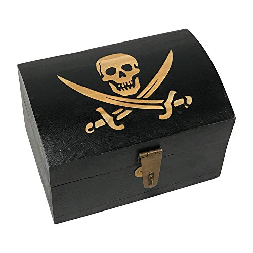- Schooner Bay Co. Engraved Pirate Flag with Swords Vintage Solid Mango Wood Treasure Chest-Shaped Box Antique Reproduction