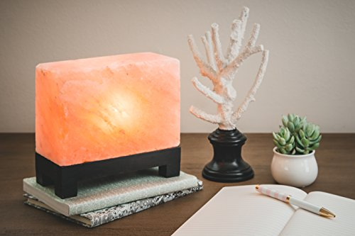100% Authentic Natural Himalayan Salt Lamp; Hand-Carved Modern Rectangle in Pink Crystal Rock Salt from The Himalayan Mountains; Footed Wood Base, UL-Listed Dimmer Cord; 11.5 lbs by d'aplomb (Image #4)