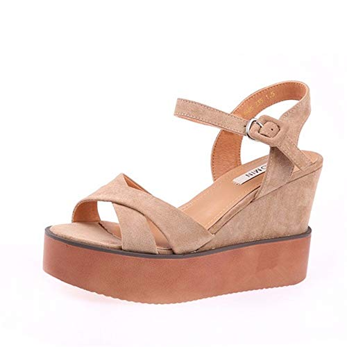 YMFIE Señoras Summer Cross con Sandalias de cuña Open Toe Wedge, 34 EU 34 EU