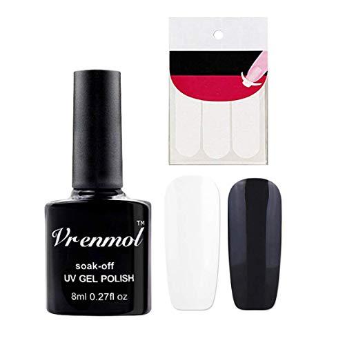Vrenmol French Manicure Nail White Black Nail Polish Gel Set Nail Art Free Tip Guides Stickers