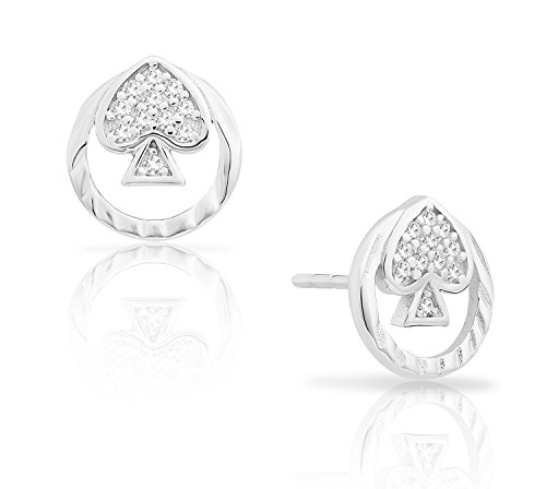 Sterling Silver Poker Spade Round Stud Earrings with Cubic Zirconia, 9mm diameter