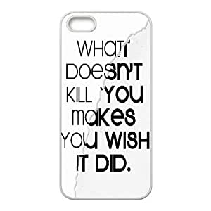 What Doesnt Kill You iPhone 5,5S Cases Cheap For Girls, Color Case For Iphone 5s [White] by trustaaa