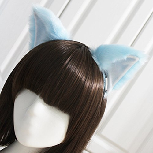 springcos Lolita Fox Ears Fur Cat Ears Headband Cosplay Party Blue - Blue Cat Ears