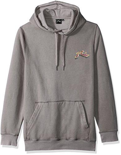 Rusty Men's Original Logo Fleece Hoodie Traditional Fit Sweatshirt, Bedrock Stone Grey Medium