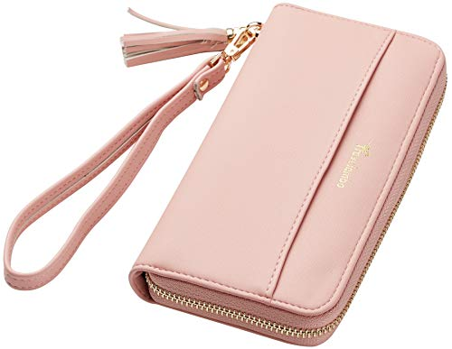 Travelambo Womens Wallet Tassel Bifold Ladies Cluth Wristlet Wrist strap Long Purse (Access Pink Lotus) - Ladies Pink Leather Strap