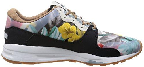 Le Coq Sportif Lcs R 1400 zapatillas con estampado de flores, color negro - negro/colores, 39 negro/colores