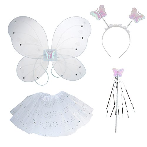 Lux Accessories White Fairy Mini Skirt Butterfly Wing Head band Costume Set -