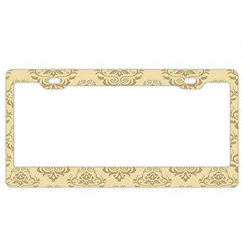 Antique Islamic (Irma Boyle Regular Damask Patterns Islamic Antique Lace Floral Patterns License Plate Frame - Plate Holder for American Universal Car Tag)