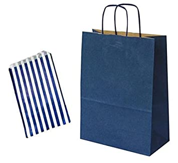 x 10 NAVY BLUE GIFT BAGS WITH MATCHING BLUE CAKE BAGS - CHRISTMAS ...