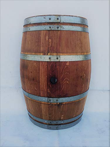 Real Half Wine Barrel Stand or Planter - Clean Oak (Stained) (Wine Barrel Furniture Garden)