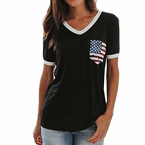 - SGMORE Womens American Flag T-Shirt Short Sleeve O-Neck Patriotic USA Tops July 4th Flag Blouse with Pockets Black