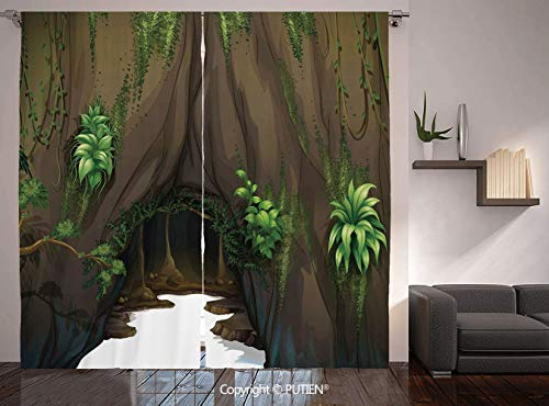 Thermal Insulated Blackout Window Curtain [ Nature,Tree Cave Surrounded with Moss Woodland Green Fantasy Secret World Cartoon,Fern Green Chocolate ] for Living Room Bedroom Dorm Room Classroom Kitchen -