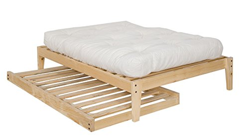 amazoncom twin size trundle bed frame unfinished wood 100 clean solid wood no toxins made in america simple and strong kitchen dining - Wooden Trundle Bed Frame