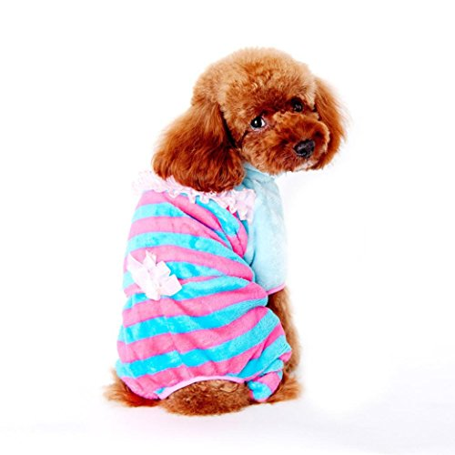 Puppy Clothes,Neartime Winter Cute Dog Coat Coral Cashmere Doggy Outfit (M, Pink) (Pumpkin Outfit For Dogs)