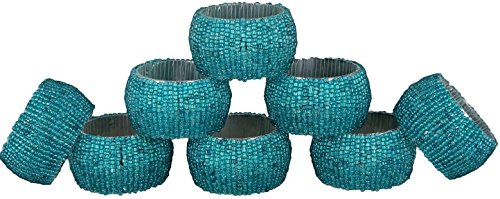 Napkin Ring Pack of 8 Christmas Table Decoration Ideas - Glass Beaded Decorative Round Turquoise Textured Napkin Tissue Holder For Party (Water Glasses Turquoise)