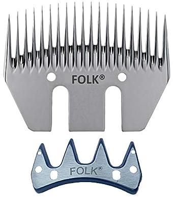 Kit de cuchilla y peine marca Folk, 20 dientes, 76 mm ancho para Esquilar Ovejas, cabras, caballos, mulos, perros (1)