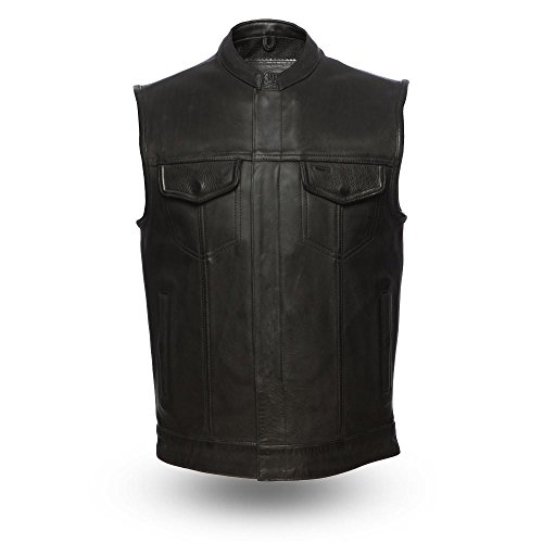 First Mfg Co Platinum Series Men's Leather Vest (Black, 2X-Large) ()