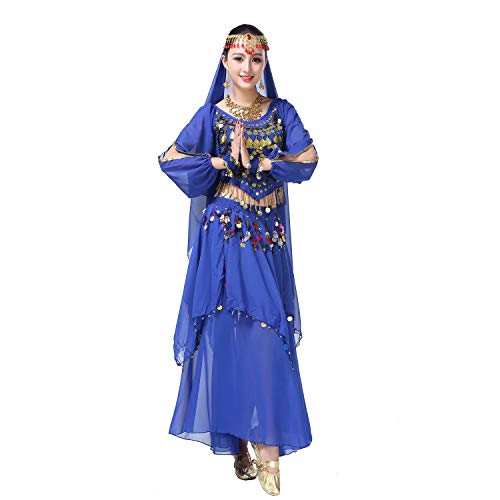 Maylong Women's Belly Dance Outfit Colorful Coins Halloween Costume DW68 (Royal Blue)]()