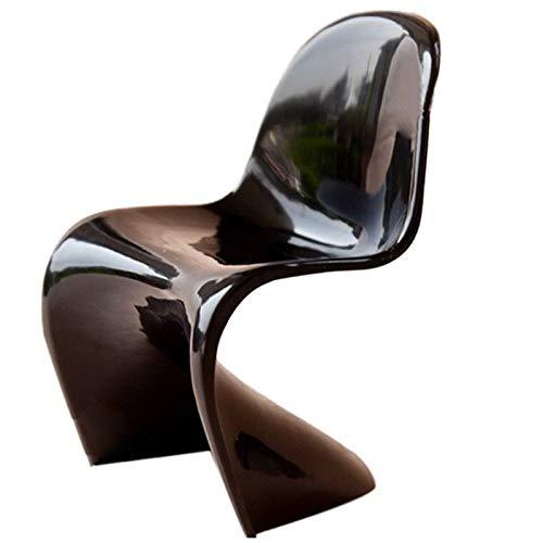 Agordo 1/6 Dollhouse Miniature Furniture Plastic S Shape White Chair Black G6C4