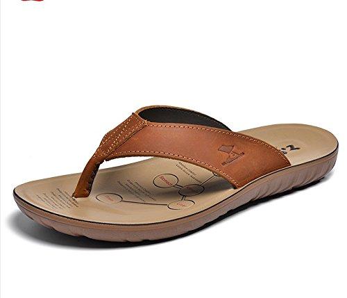 Xing Lin Sandalias De Hombre Zapatos De Hombre Grande Flip-Flops De Verano Al Aire Libre Para Hombres Sandalias Pantuflas Antideslizantes Para Hombres Calzado De Playa Marea Red-brown