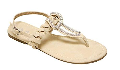 Anna Vita-6 Perline Donna Con Cinturino A Forma Di Perline Decor Intrecciatura Cinturino Alla Caviglia Sandali Scamosciati Slingback Nude
