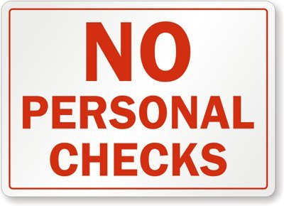 "No Personal Checks Magnetic Sign, 10"" x 7"""