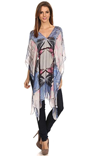 LL- Womens Pretty Blue Butterfly Multi Color Caftan Tunic Poncho Cover Up Top Spring Summer