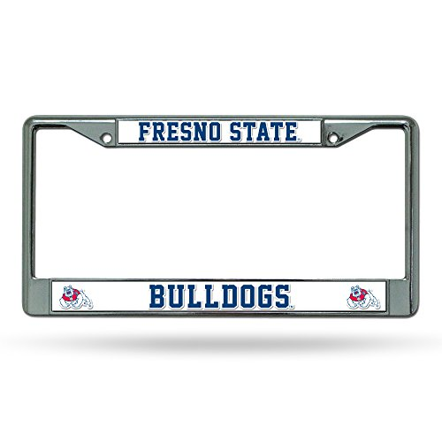 NCAA Fresno State Bulldogs Chrome License Plate Frame,12-Inch by 6-Inch,Silver