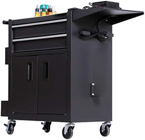 ツールキャビネット 引き出し付き多機能自動修復ワークベンチワークショップツール錫CabinetToolカート 便利な収納 (色 : Black, Size : 62x33x74cm)