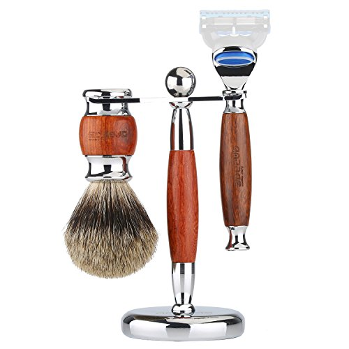 """Shaving Brush Super Badger Hair, 3in1 Anbbas Shaving Set with Razor Stand Holder 6.1"""",Manual Shaving Razor Handle Kit for Men Wet Shave,Alloy with Solid Rosewood Design,Fashion Gift Choice"""