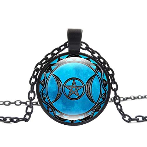 XBKPLO Necklace for Women Triple Moon Goddess Clavicle Pendant Chain Creative Wild Black Accessories Statement Jewelry Gift