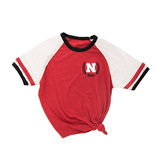 Love Red Boutique Nebraska Huskers Tee Shirt - Iron 'N' Wreath Ringer Tee - Red - M ()