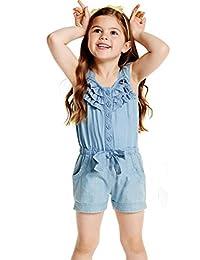 ARAUS Strap Jumpsuit Baby Girl Denim One-Piece Bodysuit Pants Outfits Summer