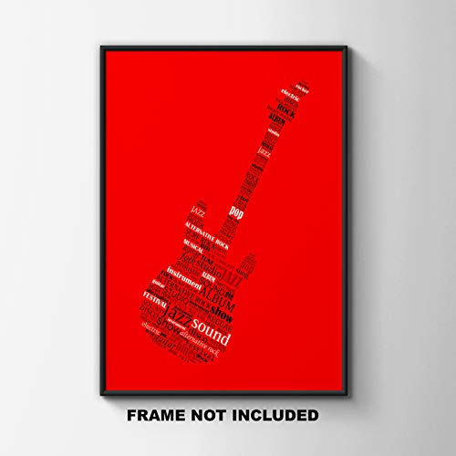 Jazz Guitar Typography Fine Art Print Poster Decor Under $20 Game Room or Living Room Gift for Those Who Love Music Blues Rock Looks Great In Dorm Bedroom 11x14 Unframed Wall Art Photo