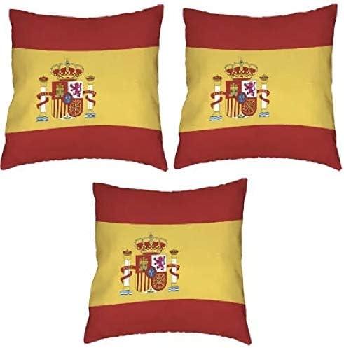 Tanto Badges - Juego de 3 Fundas de cojín (45 x 45 cm), diseño de Bandera de España: Amazon.es: Hogar