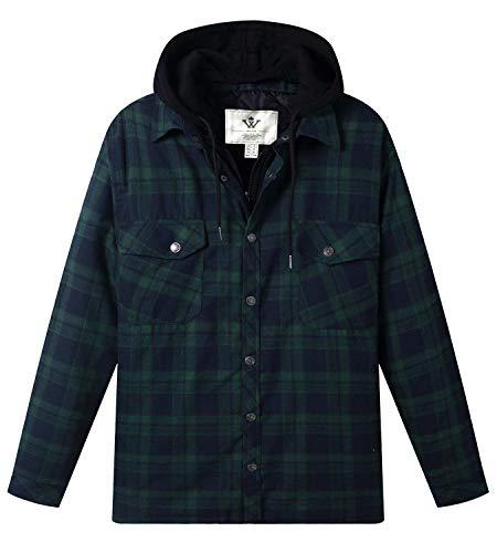 WenVen Men's Long Sleeve Plaid Fleece Shirt with Adjustment Hood(Forest Green,S)