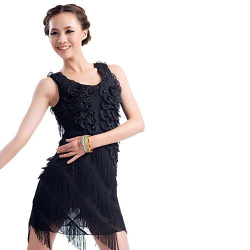 Flow embroidery take Latin dance dress women's dress , 4 , f (Lace Flow Lotus Womens)