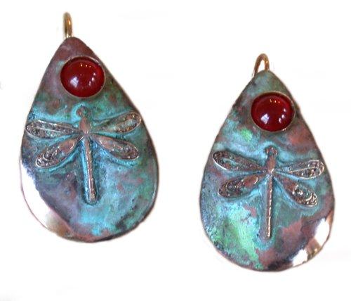 Dragonfly Patina Teardrop Earrings – Carnelian
