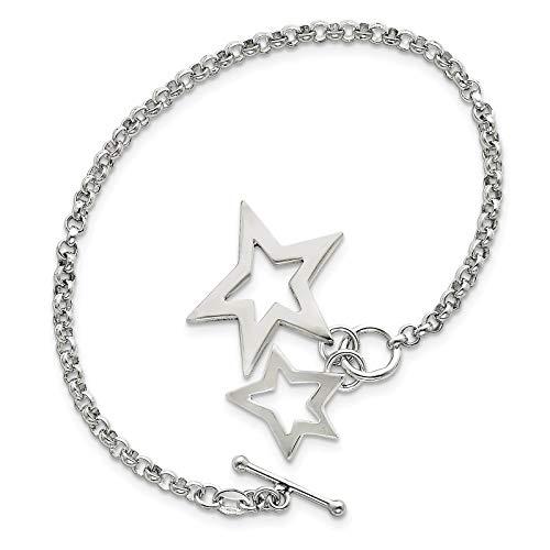 925 Sterling Silver Polished Link w/Dangling Stars Toggle Charm Bracelet 7.5