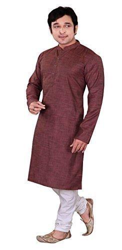 Algodón simple informal indio inteligente hombre kurta blanco pijama Sherwani 765 (XL (Cofre -