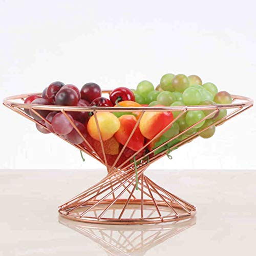GX Fruit Basket Small Quite Waist Fruit Basket,Stainless Steel Living Room Decoration Creative Coffee Table Fruit Plate Home (color : Rose gold)