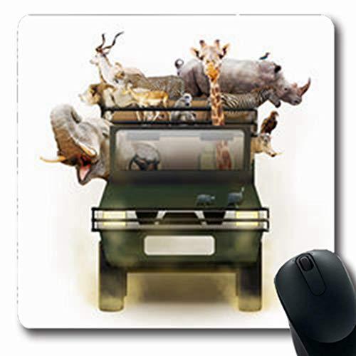 Pandarllin Mousepads Drive Wild African Safari Zebra Vehicle Room Wildlife Africa Dust Oblong Shape 7.9 x 9.5 Inches Oblong Gaming Mouse Pad Non-Slip Rubber Mat