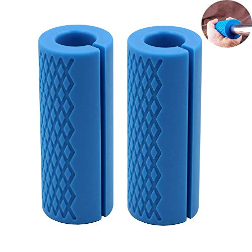 (IADU Weightlifting Thick Barbell Bar Grips-Fat Grips Alpha Handles Stress Relieve Pair Dumbbell Hand Protector Pull Up Tape Arm Blaster Adapter for Powerlifting Rack Ergonomic(Blue).)