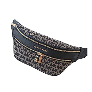 Kenly Medium Belt Bag Waist Pack Crossbody Bumbag Black Beige Jacquard Logo