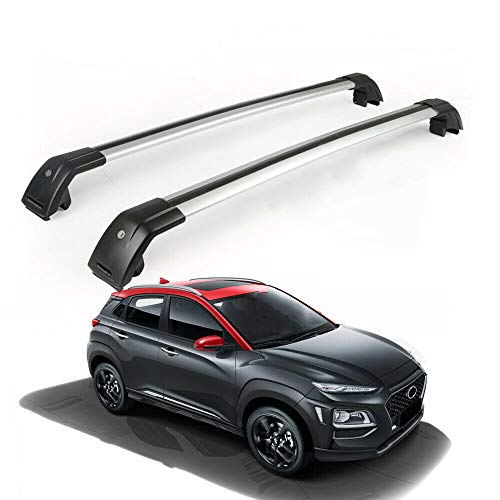 MotorFansClub Roof Racks Crossbars Fit for Hyundai KONA 2018 2019 Lockable Baggage Luggage Racks Rail Cross Bar ()