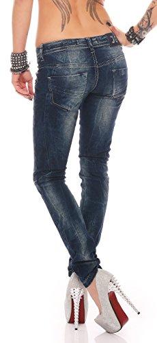 Debby Blau Röhrenjeans Damen Hüfthose Designer Jeans Denim Reißverschluss Slim 2% Stretch