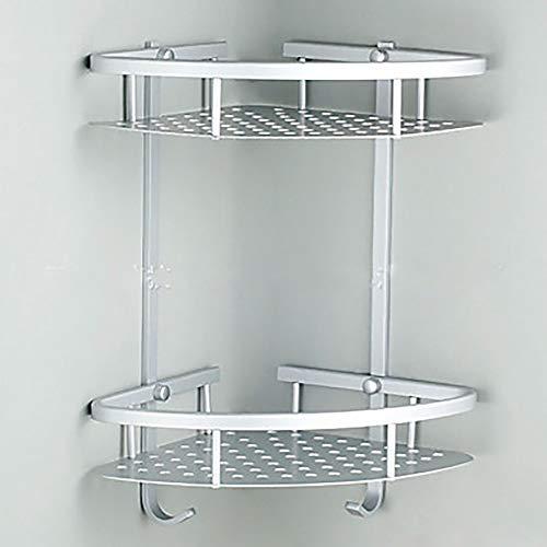 Chitty Bathroom Corner Frame 2 Layer Space Double Triangle Shower Basket Shampoo Soap Cosmetics Storage Rack Aluminum Frame Home